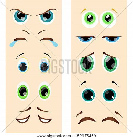 Set of different eyes in cartoon style. Vector illustration.