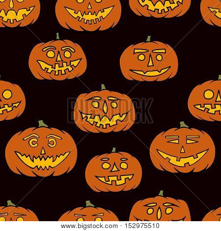 hand drawn jack-o-lantern seamless pattern - halloween background