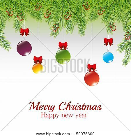 christmas message pine needles with hanging balls bow vector illustration eps 10