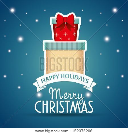 two gifts card happy holidays merry christmas label vector illustration eps 10