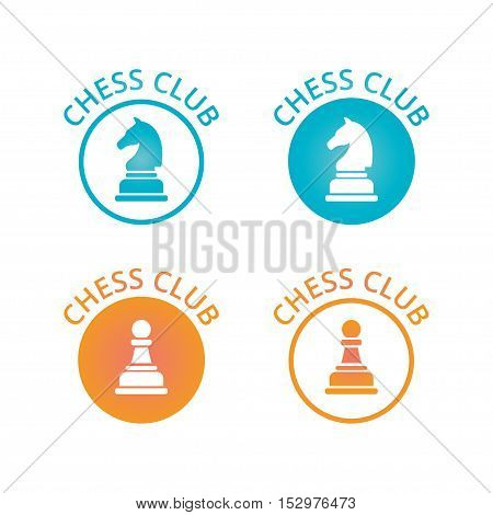 Chess club logo or emblem. Vector illustration isolated on white.