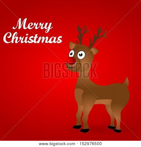 Cheerful cartoon reindeer on a red background, vector illustration