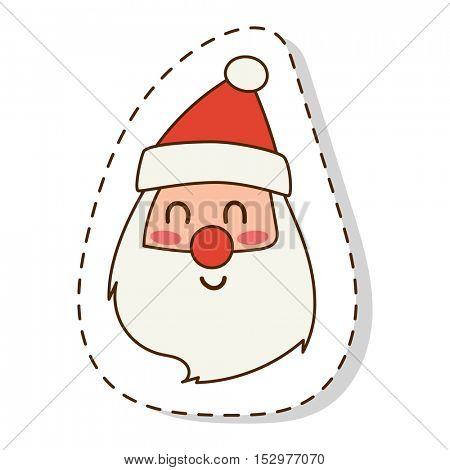 Santa Claus flat icon face vector illustration