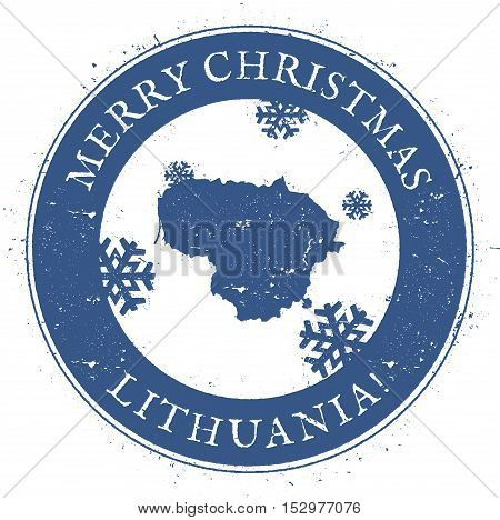 Lithuania Map. Vintage Merry Christmas Lithuania Stamp. Stylised Rubber Stamp With County Map And Me