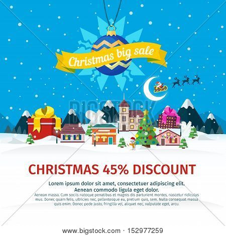 Christmas big sale flat banner. Vector illustration for the website, ads, banners. Winter landscape. Nature, buildings, village, city. Santa Claus and Christmas ball. Discounts vector illustration.