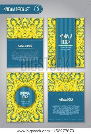 Flower Mandala Design Set. Vintage Decorative Elements.