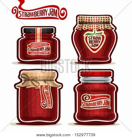 Vector logo Strawberry Jam in glass Jars with paper lid, red Pot home made strawberry jams, twine rope bow, homemade fruit jam jar, berry jelly pot with label, checkered cloth cap, isolated on white.