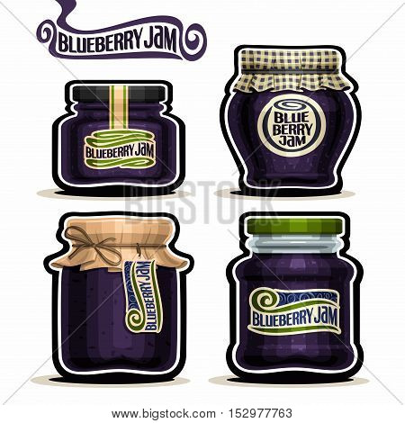 Vector logo Blueberry Jam in glass Jars with paper lid cover, blue Pot home made blueberry jams, twine rope bow, homemade fruit jam jar, berry jelly pot with label, checkered cloth, isolated on white.