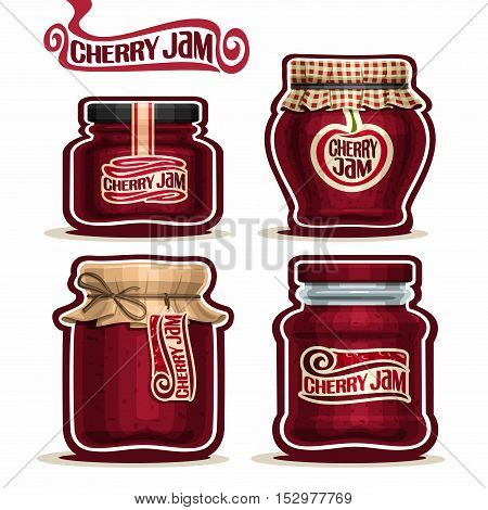 Vector logo Cherry Jam in glass Jars with paper lid cover, red Pot home made cherry berry jams, twine rope bow, homemade fruit jam jar, jelly pot with label, checkered cloth cap, isolated on white.