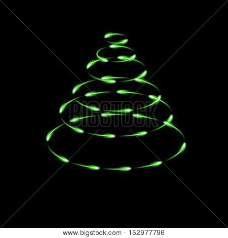 Green cone made by fireflies modern vector christmas tree icon dark background