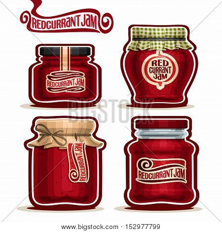 Vector logo Redcurrant Jam in glass Jars with paper lid, Red Currant Pot home made spread redcurrant berry jams homemade red currant fruit jam jar, pot with label, checkered cloth, isolated on white.