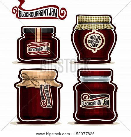 Vector logo Blackcurrant Jam in glass Jars with paper lid, Black Currant Pot home made blackcurrant berry jams, homemade black currant fruit jam jar, pot label, checkered cloth cap, isolated on white.