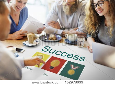 Business Plan Strategy Target Goals Graphic Concept