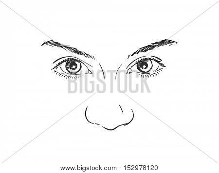Eyes of beautiful girl, Vector sketch Hand drawn illustration