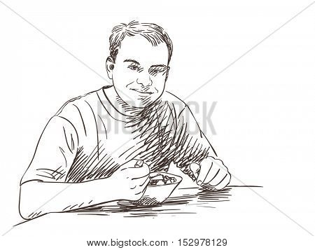 Sketch om man eating food Hand drawn illustration