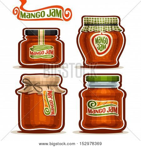 Vector logo Mango Jam in glass Jars with paper cover lid, rustic Pot home made mango jams, twine rope bow, set homemade fruit jam jar, farm jelly pot with label, checkered cloth cap, isolated on white