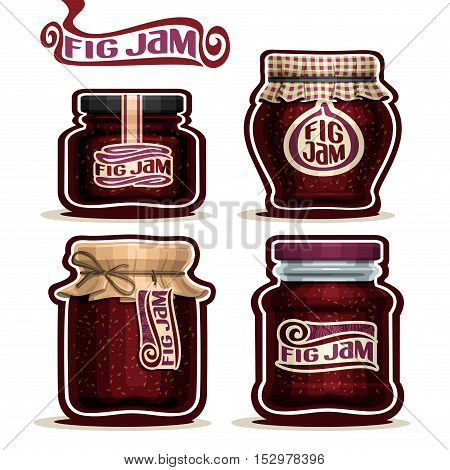 Vector logo Fig Jam in glass Jars with paper cover lid, purple Pot home made fig seed jams, twine rope bow, set homemade fruit jam jar, farm jelly pot with label, checked cloth cap, isolated on white