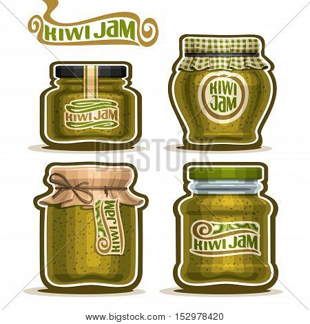 Vector logo Kiwi Jam in glass Jars with paper cover lid, green Pot home made kiwi jams, twine rope bow, set homemade fruit jam jar, farm jelly pot with label, checkered cloth cap, isolated on white.
