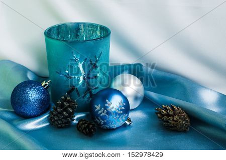 Decoration for New Year and Christmas. Candle and xmas balls