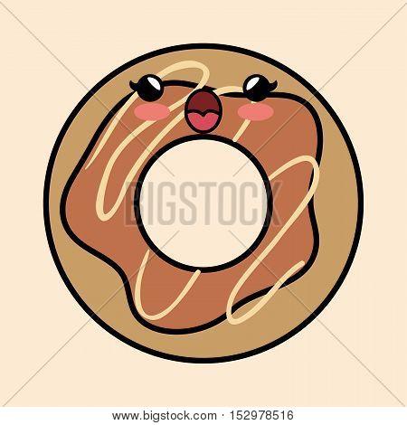 yummy kawaii donut sweet icon vector illustration eps 10