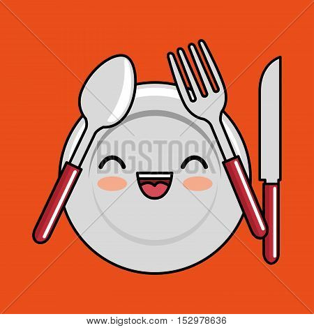 kawaii plate fork spoon knife icon design vector illustration eps 10