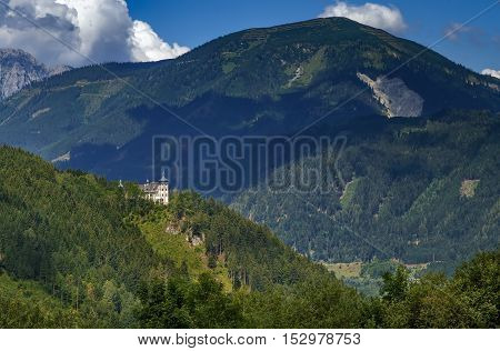 Landscape of Alps mountains with Rothelstein castle Styria Austria