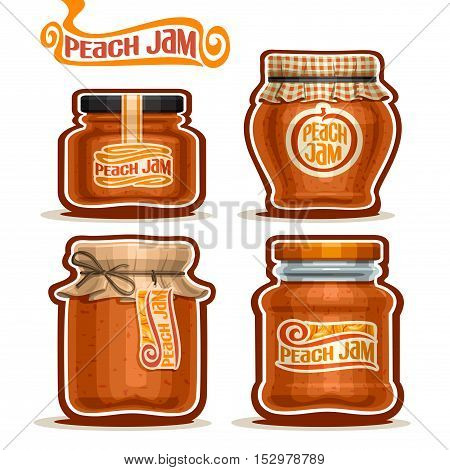 Vector logo Peach Jam in glass Jars with paper cover lid, rustic Pot home made peach jams, twine rope bow, set homemade fruit jam jar, farm jelly pot with label, checkered cloth cap, isolated on white