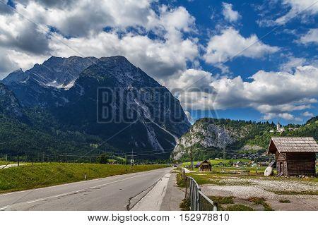 Highway Salzkammergut with landscape of Alps mountain in Sryria Austria