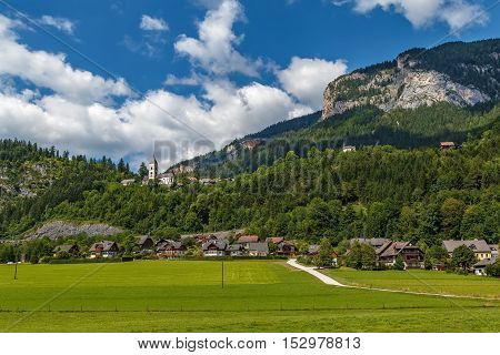 Landscape in Alps mountains with church in Purgg Styria Austria