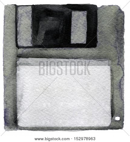 watercolor sketch of diskette on white background