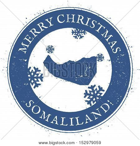 Somaliland Map. Vintage Merry Christmas Somaliland Stamp. Stylised Rubber Stamp With County Map And