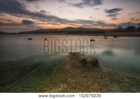 Reservoir in autumn lack of water in Spain
