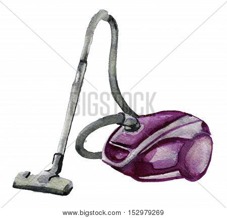watercolor sketch of vacuum cleaner on white background