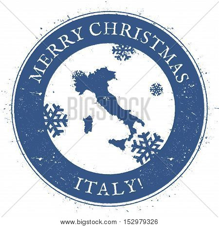 Italy Map. Vintage Merry Christmas Italy Stamp. Stylised Rubber Stamp With County Map And Merry Chri