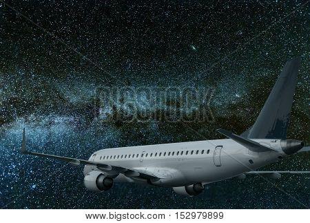 Airplane Flying At Night. Milky Way Galaxy