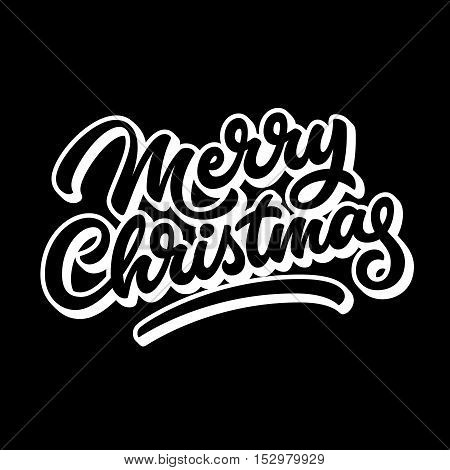 Merry Christmas, xmas badge with handwritten lettering, calligraphy with outline, block blended shade and black background for logo, banners, labels, prints, posters. Vector illustration