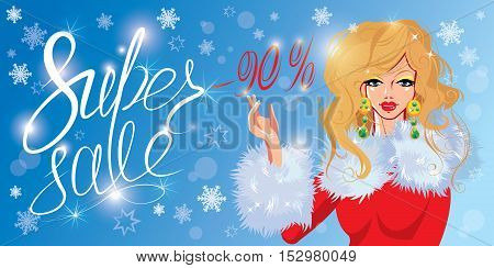 Christmas Discount horizontal banner with Smiling Happy blond girl. Calligraphic hand written text Super sale. Winter background with snowflakes.