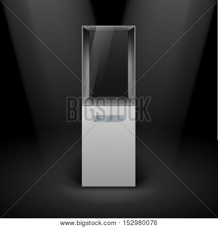Empty Glass Showcase for Presentation on Black