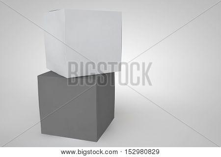 Mock-up Cardboard Box On White Background.
