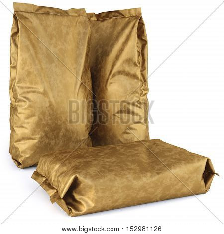 gold paper bags. isolated on white background. 3D illustration.