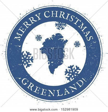 Greenland Map. Vintage Merry Christmas Greenland Stamp. Stylised Rubber Stamp With County Map And Me