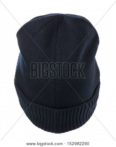 Knitted Hat Isolated On White Background .hat Blue