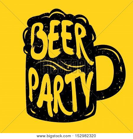 Silhouette of mug beer with lettering. Beer party. Vector illustration.