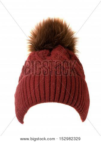 Knitted Hat Isolated On White Background .hat With Pompon . Red Hat