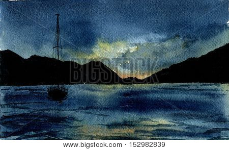 Watercolor sea landscape with yacht. Hand drawn night sea illustration with mount, sky and clouds. For design, textile and background