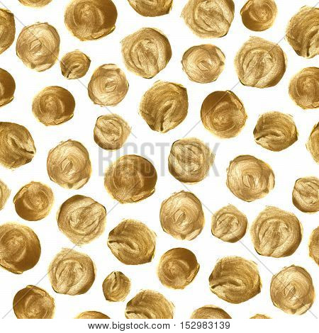 Hand drawn seamless pattern with golden polka dot. Illustration isolated on white. Gold circle design for print, textile, background and fabric