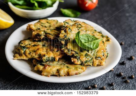 Savory Tuna Pancakes With Spinach, Garlic And Egg