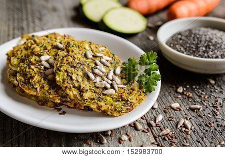 Vegetable Pancakes With Zucchini, Carrot, Chia, Flax Seeds And Oatmeal