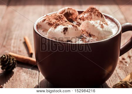 Hot chocolate in a mug marshmallows cinnamon sticks and fir cones close-up