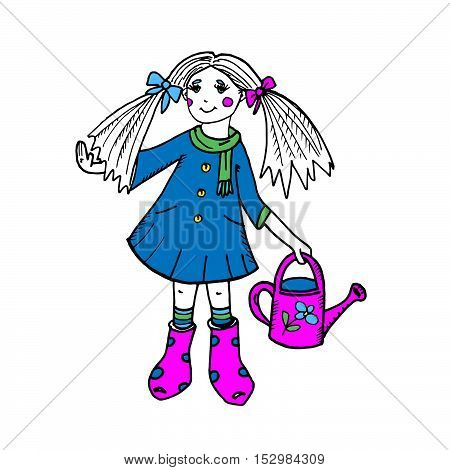 Colorful freehand illustration with girl in a coat and scarf and garden watering can. Cute cartoon character. Childhood, people, kids. For prints, designs, cards.